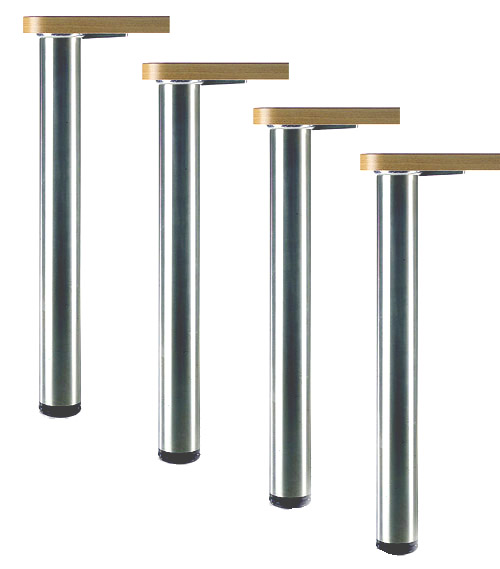 ROME Steel Table Legs, Round, 2 3/8″ Diameter, 1″ Adjustable Foot, Set of 4 Legs,  various Finishes