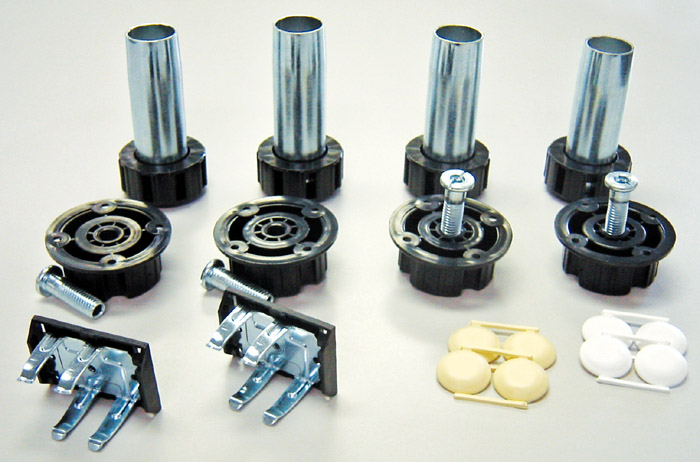 """Set of 4 Metal legs (4"""" to 6""""adjustment) and 4 ABS sockets, clips and caps"""