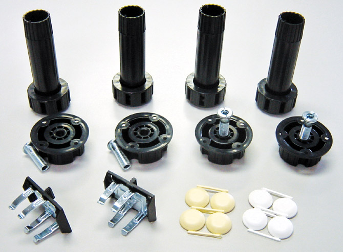 "Set of 4 ABS legs (4""-6 1/2"") and 4 ABS sockets, clips and caps"