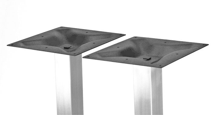 "18"" x 28"" Stainless Steel Base, 2 SQUARE columns"