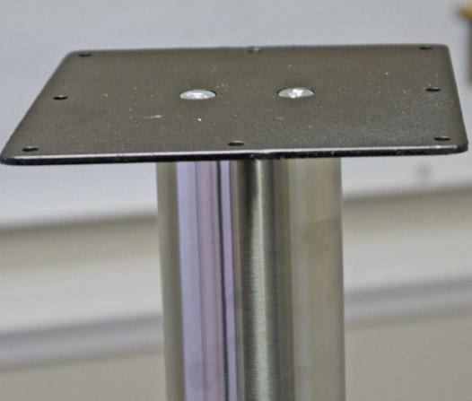"KATRINA Stainless Leg with Floor Plate, 3"" Diameter, round, SINGLE LEG"