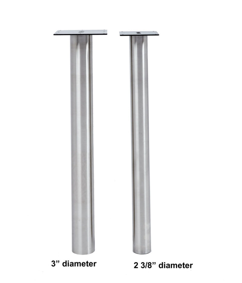 "Steel Leg: KATRINA Stainless Steel Leg, 3"" Round, Adjustable"