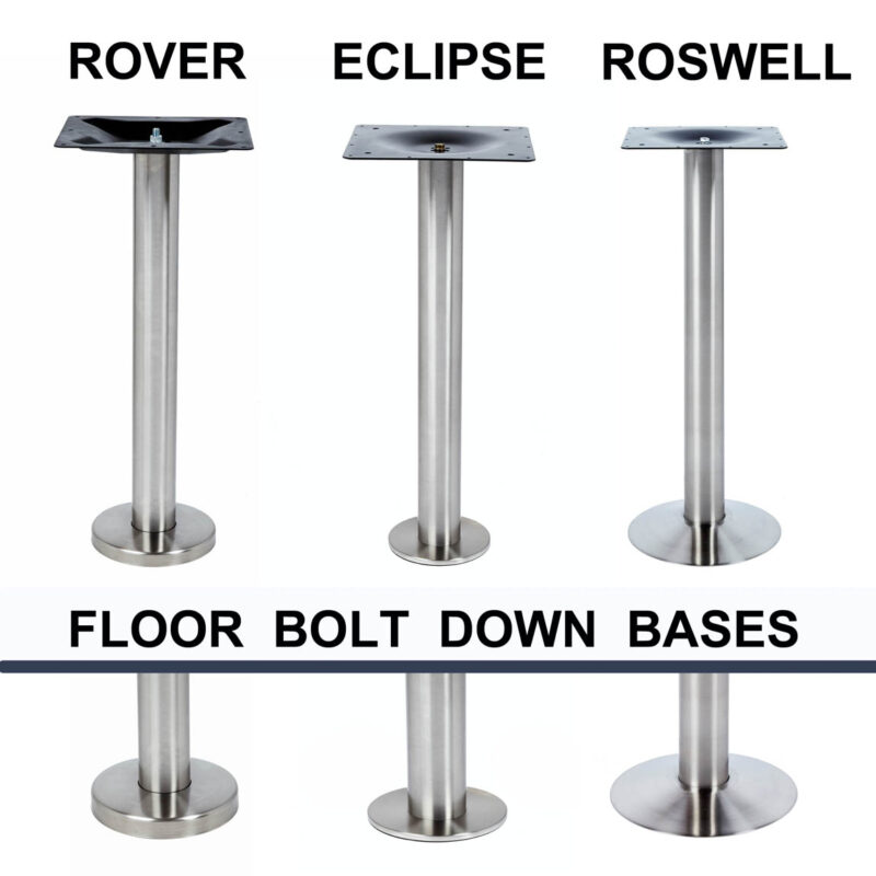 ROSWELL Bolt Down Leg, Stainless Steel Base, heavy duty